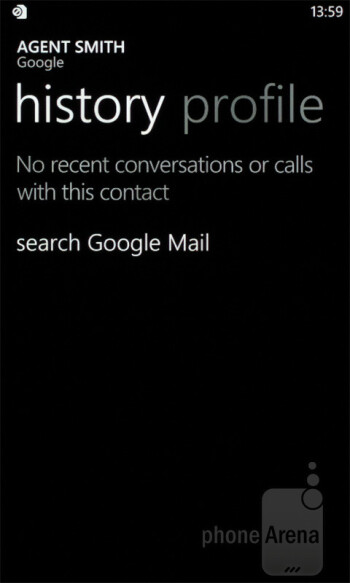 In the People hub you now have the History tab - Samsung Omnia W Review