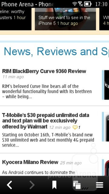 The Belle browser on the Nokia 700 - Nokia 700 Review