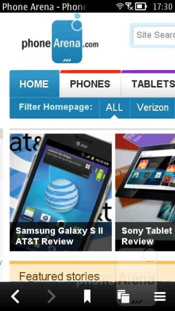 The web browser of the Nokia 603 - Nokia 603 Review