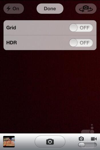 Camera interface of the Apple iPhone 4S - Samsung Galaxy Nexus vs Apple iPhone 4S