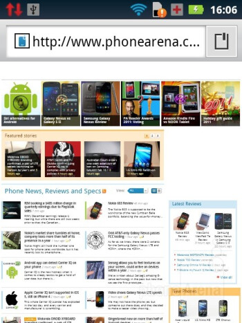 The Motorola PRO+ uses the stock Android internet browser - Motorola PRO+ Review