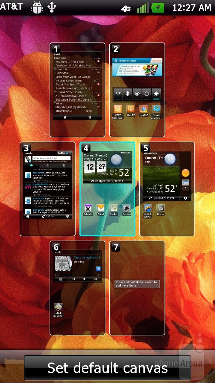 The interface of the LG Nitro HD - Samsung Galaxy Note LTE vs LG Nitro HD