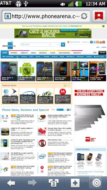 Web browsing experience with the LG Nitro HD - LG Nitro HD Review
