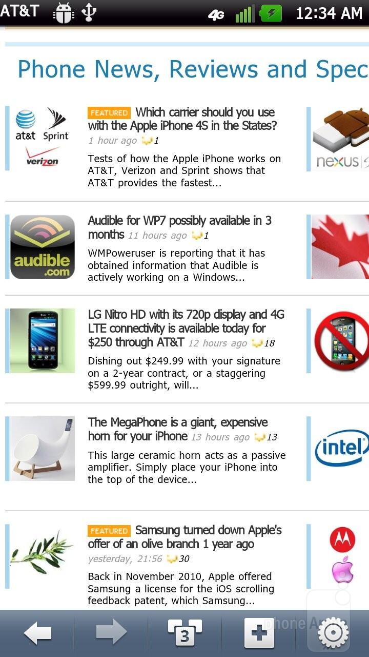 Web browsing experience with the LG Nitro HD - Samsung Galaxy Note LTE vs LG Nitro HD