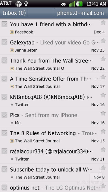 Gmail - Email on the LG Nitro HD - Samsung Galaxy Note LTE vs LG Nitro HD