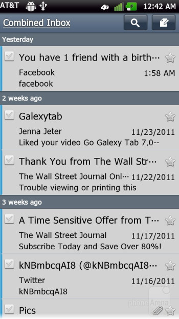 The LG Email app - Email on the LG Nitro HD - Samsung Galaxy Note LTE vs LG Nitro HD