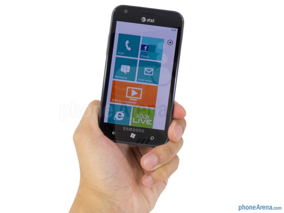 The Samsung Focus S maintains a light figure and streamlined body - Samsung Focus S Review