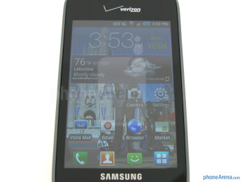 "On the front of the Samsung Illusion is a 3.5"" TFT display that has an HVGA resolution - Samsung Illusion Review"