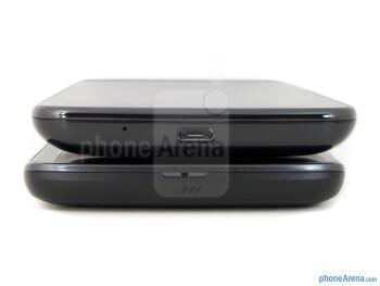 Bottom - The LG Nitro HD (bottom) and the Samsung Galaxy S II Skyrocket (top) - LG Nitro HD vs Samsung Galaxy S II Skyrocket