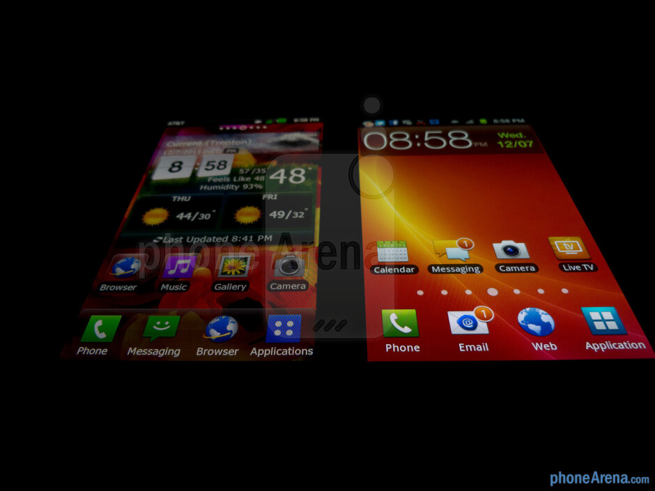 The LG Nitro HD (left) and the Samsung Galaxy S II Skyrocket (right) - LG Nitro HD vs Samsung Galaxy S II Skyrocket