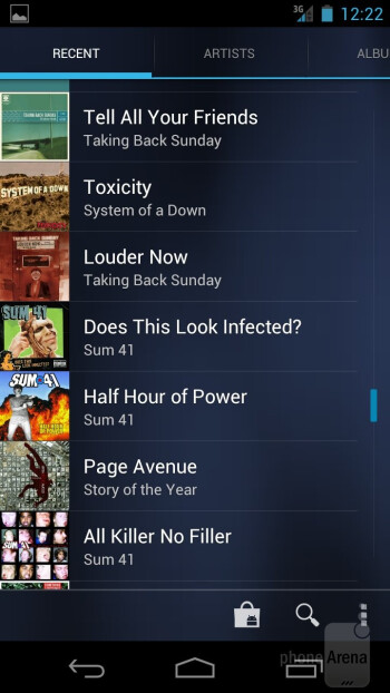 The Music app of the Verizon Galaxy Nexus - Verizon Galaxy Nexus vs HTC Rezound