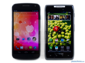 The Verizon Galaxy Nexus (left) and the Motorola DROID RAZR (right) - Verizon Galaxy Nexus vs Motorola DROID RAZR