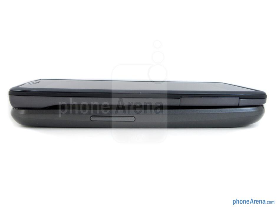 Left - The sides of the Verizon Galaxy Nexus (bottom) and the Motorola DROID RAZR (top) - Verizon Galaxy Nexus vs Motorola DROID RAZR