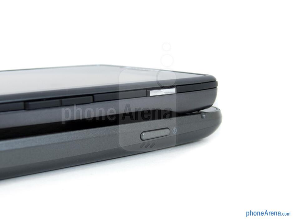Power keys - The Verizon Galaxy Nexus (bottom) and the Motorola DROID RAZR (top) - Verizon Galaxy Nexus vs Motorola DROID RAZR