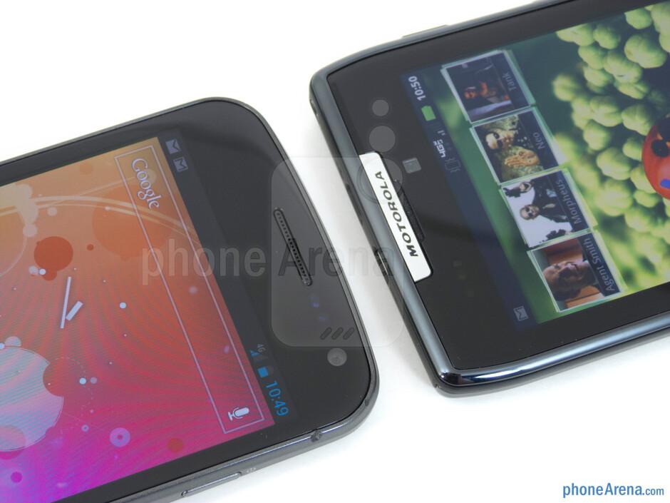 Front-facing cameras - The Verizon Galaxy Nexus (left) and the Motorola DROID RAZR (right) - Verizon Galaxy Nexus vs Motorola DROID RAZR