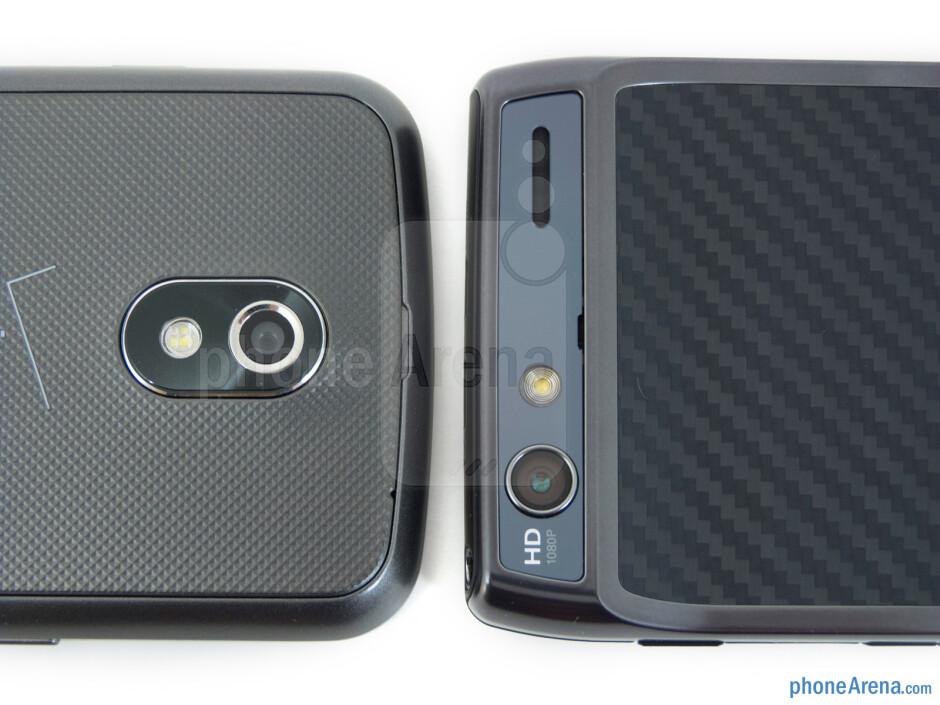 Rear cameras - The Verizon Galaxy Nexus (left) and the Motorola DROID RAZR (right) - Verizon Galaxy Nexus vs Motorola DROID RAZR