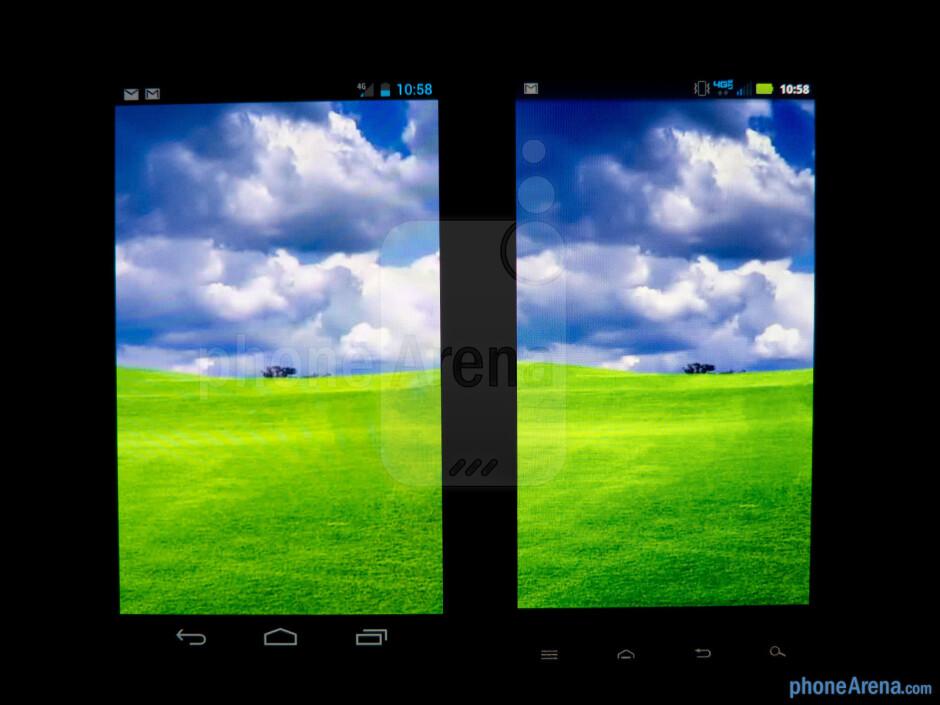 Viewing angles - The Verizon Galaxy Nexus (left) and the Motorola DROID RAZR (right) - Verizon Galaxy Nexus vs Motorola DROID RAZR