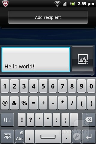 On-screen keyboard - Sony Ericsson Live with Walkman Review