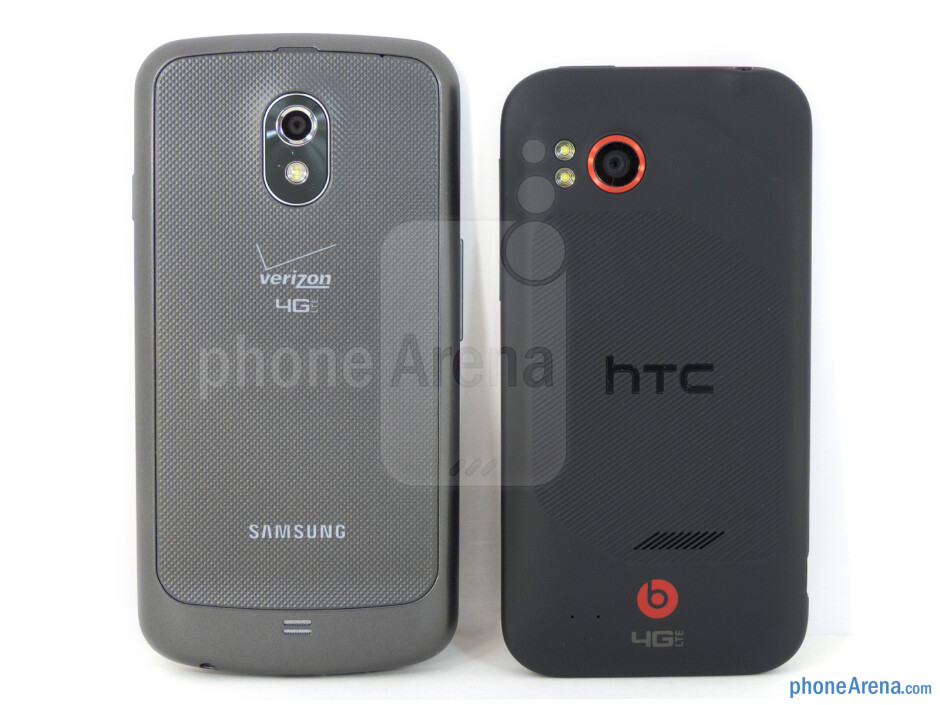 Both the Verizon Galaxy Nexus (left) and the HTC Rezound (right) follow the same conventional design approach - Verizon Galaxy Nexus vs HTC Rezound