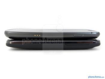 Right - Side views - Verizon Galaxy Nexus (top, left) and HTC Rezound (bottom, right) - Verizon Galaxy Nexus vs HTC Rezound