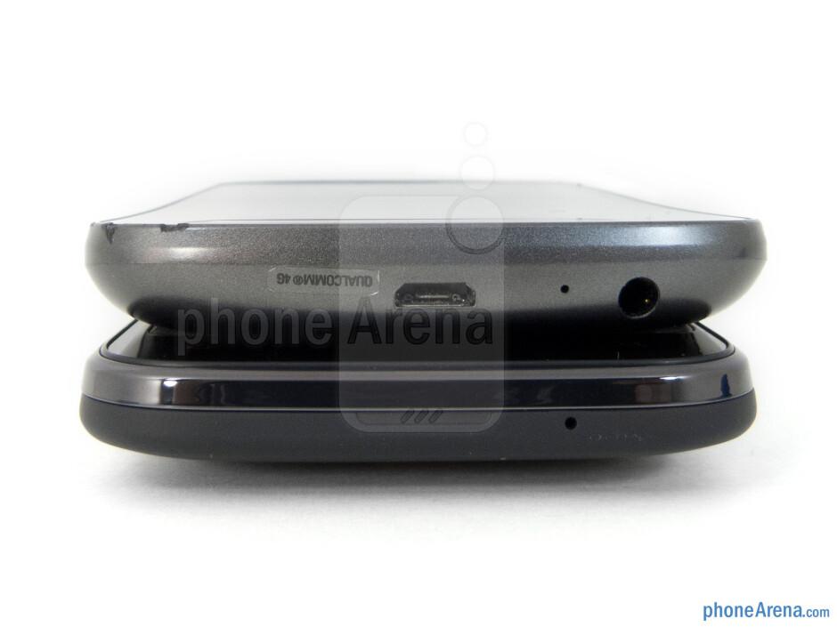 Bottom - Side views - Verizon Galaxy Nexus (top, left) and HTC Rezound (bottom, right) - Verizon Galaxy Nexus vs HTC Rezound