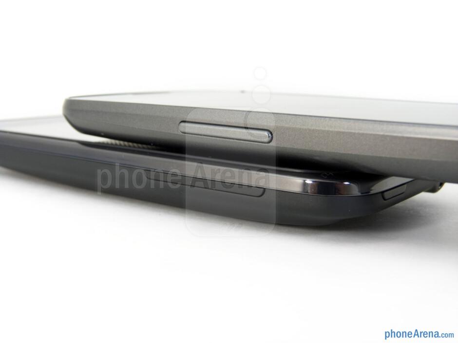 Volume rockers - Verizon Galaxy Nexus (top, left) and HTC Rezound (bottom, right) - Verizon Galaxy Nexus vs HTC Rezound