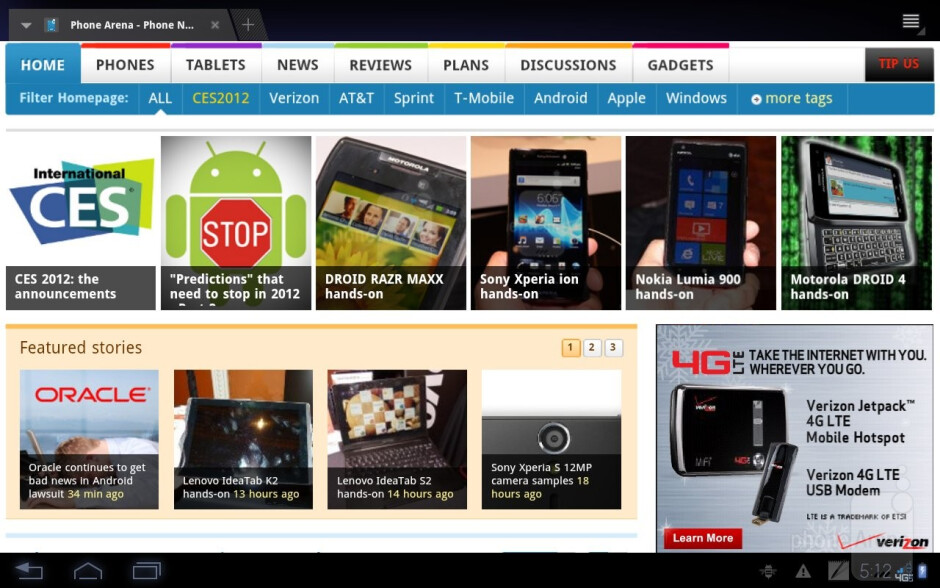 The web browser of the Motorola DROID XYBOARD 10.1 is a pleasure to use - Motorola DROID XYBOARD 10.1 Review