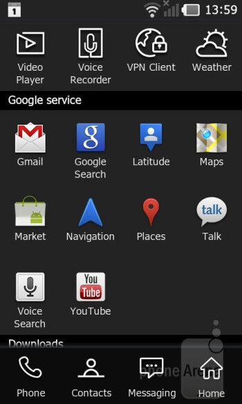 LG has customized the icons of all Android applications, except for those of Google's services - LG Prada 3.0 Review