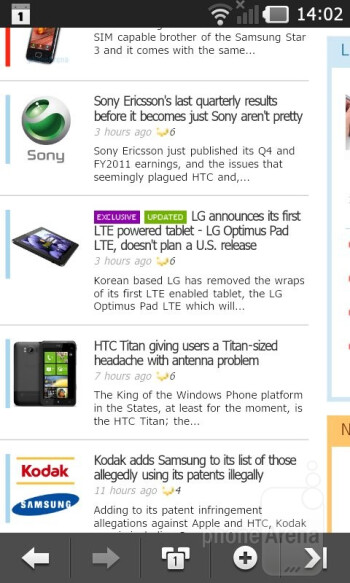 The Android browser of the LG Prada 3.0 - LG Prada 3.0 Review
