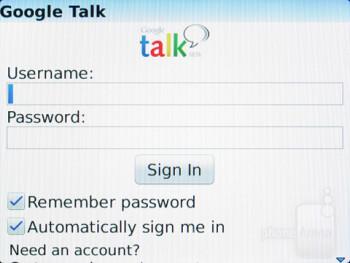 Google Talk - Preinstalled apps - RIM BlackBerry Curve 9370 Review