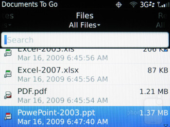 Documents To Go - Preinstalled apps - RIM BlackBerry Curve 9370 Review