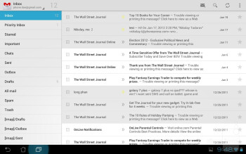 The e-mail app on the Asus Transformer Prime - Asus Transformer Prime vs Apple iPad 2