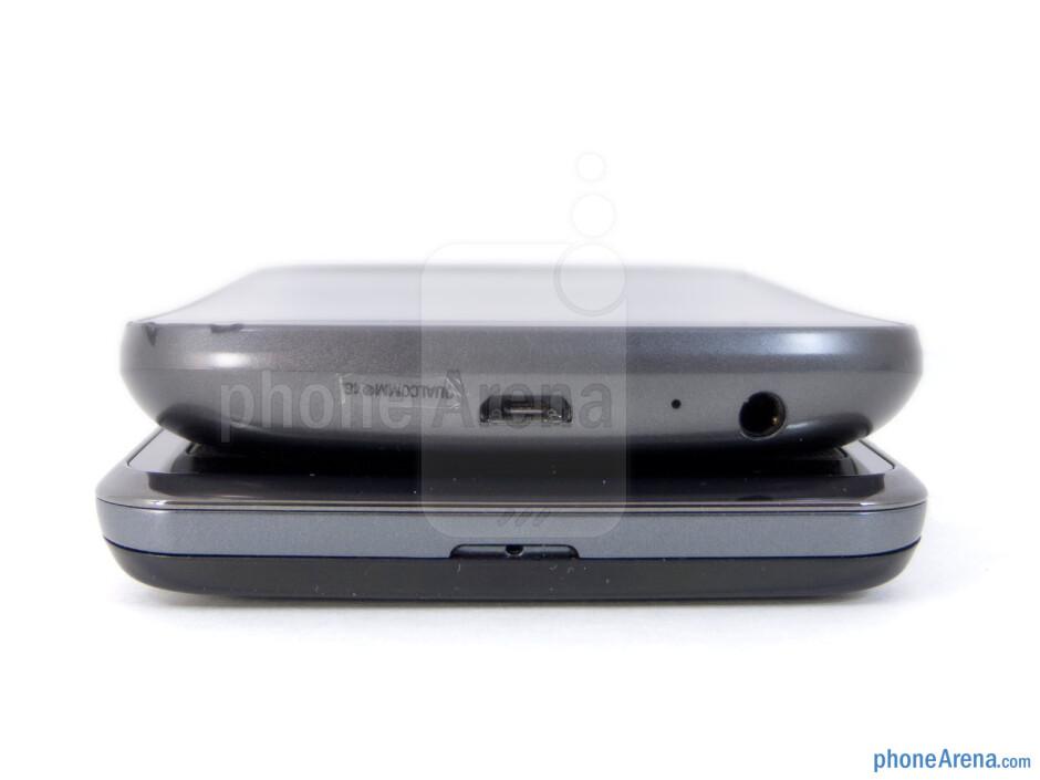 Bottom - The sides of the LG Spectrum (bottom) and the Samsung Galaxy Nexus (top) - LG Spectrum vs Samsung Galaxy Nexus