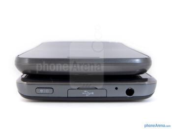 Top - The sides of the LG Spectrum (bottom) and the Samsung Galaxy Nexus (top) - LG Spectrum vs Samsung Galaxy Nexus