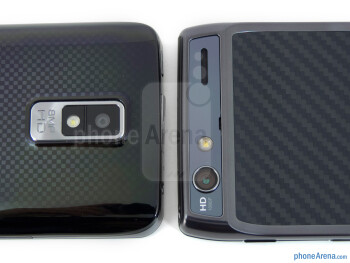 Rear cameras - The LG Spectrum (left) and the Motorola DROID RAZR (right) - LG Spectrum vs Motorola DROID RAZR