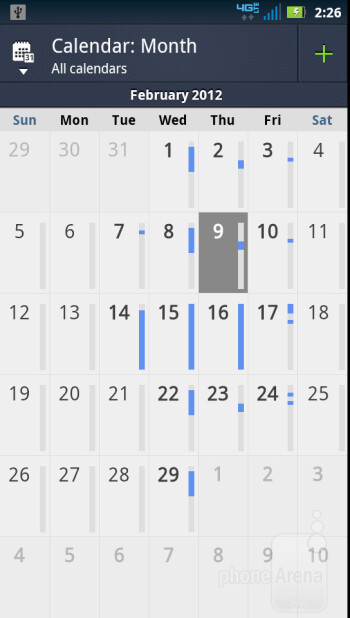 The Calendar of the  Motorola DROID 4 - Motorola DROID 4 vs Samsung Galaxy Nexus