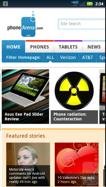 Web surfing with the The Motorola DROID 4 - Motorola DROID 4 vs Samsung Galaxy Nexus