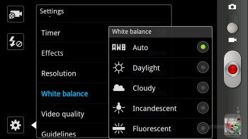 Camera interface - Samsung Galaxy S II HD LTE Review