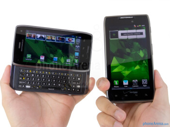 The Motorola DROID 4 (left) is considerably thicker and heavier than the Motorola DROID RAZR MAXX (right) - Motorola DROID 4 vs Motorola DROID RAZR MAXX
