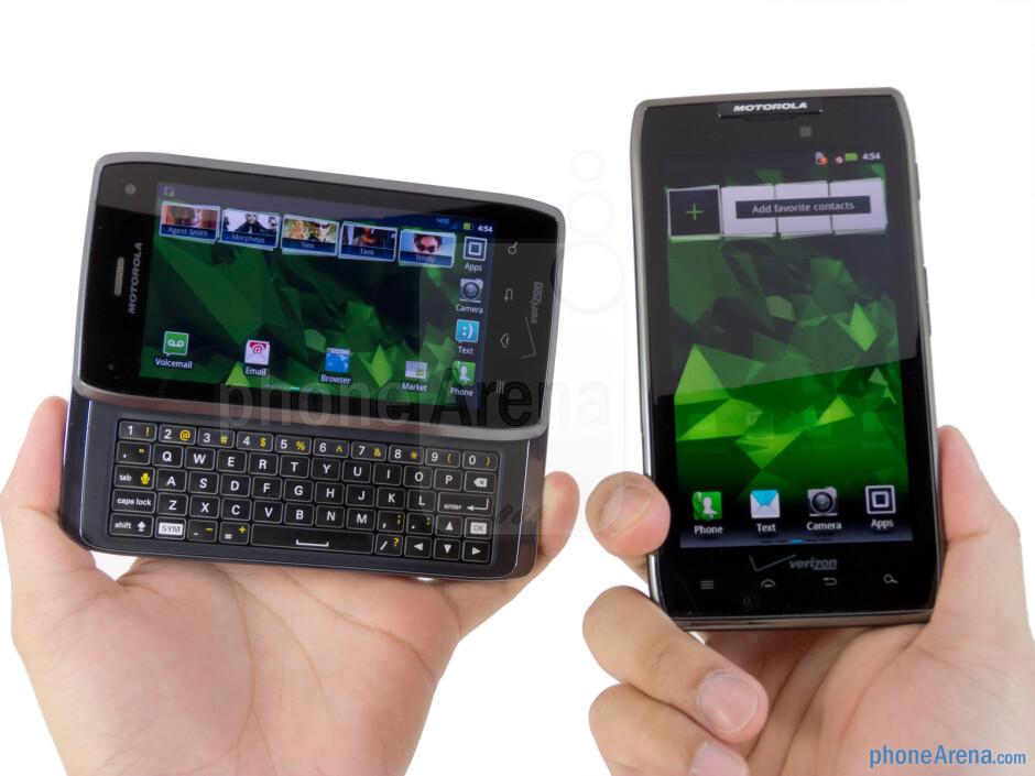 The Motorola DROID 4 (left) is considerably thicker and heavier than the Motorola DROID RAZR MAXX (right) - Motorola DROID 4 vs Motorola DROID RAZR MAXX