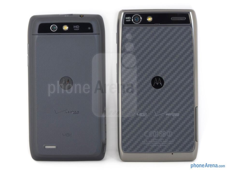 Backs - The Motorola DROID 4 (left) and the Motorola DROID RAZR MAXX (right) - Motorola DROID 4 vs Motorola DROID RAZR MAXX
