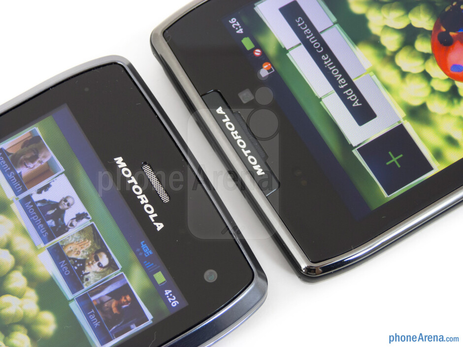 Front-facing cameras - The Motorola DROID 4 (left) and the Motorola DROID RAZR MAXX (right) - Motorola DROID 4 vs Motorola DROID RAZR MAXX