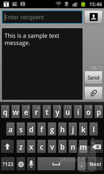On-screen virtual keyboard - Samsung Galaxy S Advance Preview