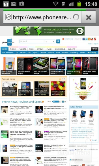 The built-in internet browser - Samsung Galaxy S Advance Preview