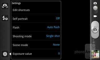 Camera interface - Samsung Galaxy S Advance Preview
