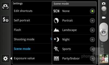 Camera interface - Samsung Galaxy S Advance Preview