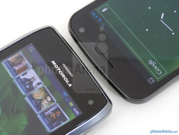 Front-facing cameras - The Motorola DROID 4 (left) and the Samsung Galaxy Nexus (right) - Motorola DROID 4 vs Samsung Galaxy Nexus