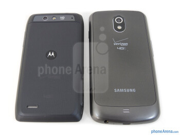 Backs - The Motorola DROID 4 (left) and the Samsung Galaxy Nexus (right) - Motorola DROID 4 vs Samsung Galaxy Nexus
