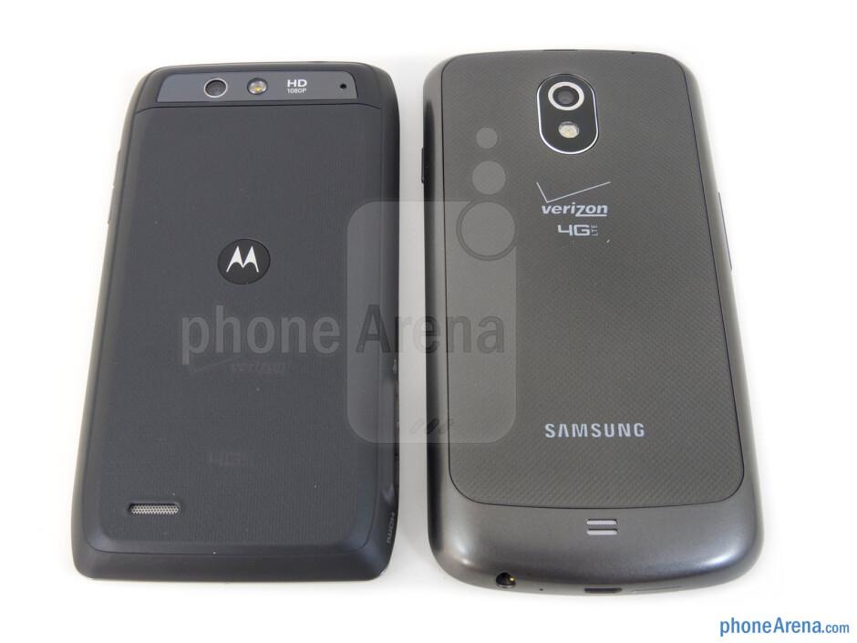 Backs - The Motorola DROID 4 (left) and the Samsung Galaxy Nexus (right) - Motorola DROID 4 vs Samsung Galaxy Nexus