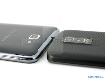 The backs of the Samsung Galaxy Note LTE (left) and the LG Nitro HD (right) - Samsung Galaxy Note LTE vs LG Nitro HD